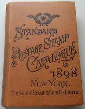 1898 Scott Standard Postage Stamp Catalog - Hardcover Antique Book