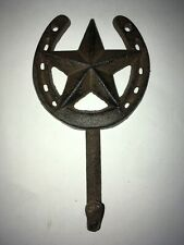 Rustic Cast Iron Hanger Western Texas Star Horse Shoe Wall Towel Coat Hat Hook