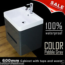 Vanity Unit Cabinet Basin Sink Bathroom Wall Hung Mounted 600MM Tap Waste grey