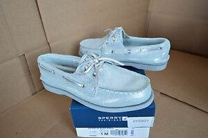 New Sperry Girl's Youth A/O Slip On Silver Sparkle Boat Shoes YG54582