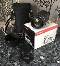 Canon EF 55-200mm f/4.5-5.6 II USM Lens, case, lens hood, skylight 1B filter +