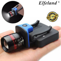 COB LED Clip-On Headlamp Zoomable Head Torch Cap Light Fishing Camping Torch