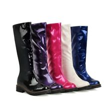 Women Shiny PU Leather Knee High Riding Boots Flats Pull On Uniform Knight Boots