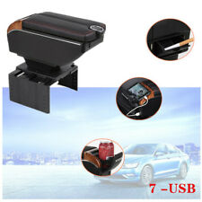 7-USB Charging Car Dual Opening Armrest Box Central Console Cup Mount Storage