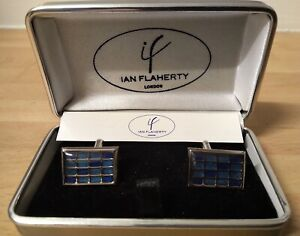 Blue Designer Cufflinks by Ian Flaherty - unworn and makes a great gift FREEPOST