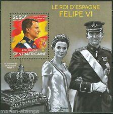 CENTRAL AFRICA  2014 FELIPE VI,  KING OF SPAIN  SOUVENIR SHEET MINT NH