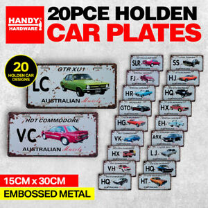 Handy Hardware® 20PCE Vintage Aussie Muscle Car Plate Signs Holden 15cm x 30cm