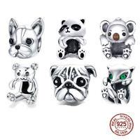 925 Sterling Silver PANDORA Animal Bulldog Elephant Dog Bear Fish Panda Charms