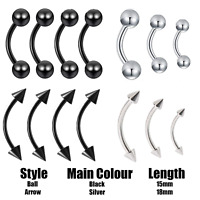 Curved Eyebrow Bar Barbell Curve Banana Cartilage Ear Piercing Navel anodised UK