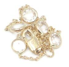 "White Topaz Round 61/2"" Bracelet,14K Yellow Gold Chain & Lobster Lock"