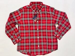 Kids Burberry Red Checked 100% Cotton Collared Long Sleeved Shirt - 8 Years