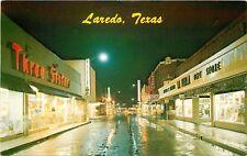 Vintage Postcard; Night Street Scene, Laredo TX, Department Stores, Convent Ave