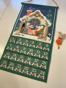 Vintage 1987 AVON CHRISTMAS COUNTDOWN ADVENT CALENDAR With MOUSE Green Couple