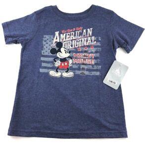 NWT Disney Store Boys Size 4/XS Mickey Mouse Blue American Original Tee Shirt