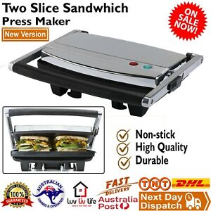 New Cafe Press Stainless Steel 4 Slice 2 Sandwich Maker Grill Toasted Toaster