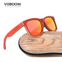 hommes femmes bambou polarisé lunettes de soleil planche à roulette bois rouge