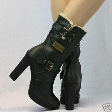 945 Warm Comfort Ankle Full Faux Fell Zip Blockabsatz Schnalle Plateau Stiefel 3 - 8