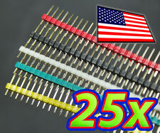 [25pcs] 40 Pin Male Header - Red Green White Yellow Black for Breadboard 1x40