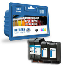 REFRESH CARTRIDGES 4 PACK / 2 FULL SETS #45 #78 XL INK COMPATIBLE WITH HP PRINTE