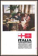 PUBBLICITA'1933 ITALIA FLOTTE RIUNITE GENOVA TRANSATLANTICO SALA TE' NAVE VIAGGI