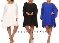 Plus Size Chiffon Blouson Sleeve Shift Dress Tunic
