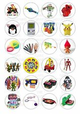 24 90's 1990's toys Wafer / Rice Paper Cupcake Topper Edible Fairy Cake Toppers
