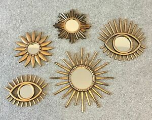 New Set Of 5 Brushed Gold Mirrors sun star And Eye Shaped Designs Home Decor