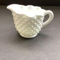 Vintage Fenton White Milk Glass Hobnail Creamer with Ruffled Edge