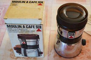 Moulin à café électrique vintage acier chromé Seb type 108 N à minuterie boite