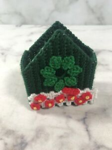 Vintage Hand Knit Small Box Holder Green White Red Decoration Display