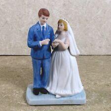 "Wedding Bride & Groom porcelain cake topper Norman Rockwell 1984 4.8"" w box áµ— C1"