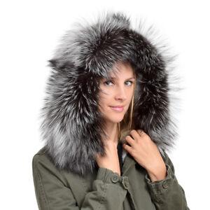 Genuine Silver Fox Fur Hood Trim XXL NEW! Real Fur Collar Fur For Hood Grey Fell