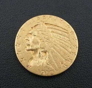 1910S $5 Dollar Indian Head Half Eagle Gold Coin Free Shipping Rare M1544