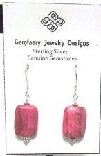 Sterling Silver Argentina RHODOCHROSITE Dangle Earrings #2126...Handmade USA