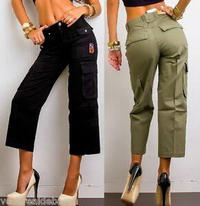 Pantaloni Donna Capri Jeans G.R. C046 Multitasche Verde/Kaki Nero Tg S XL