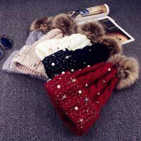 gorro algodon pelo Faux Fur Ball Beanie Winter Warm Cotton Knitted Hat Cap