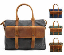Men Vintage Canvas Leather Briefcase Cross Body Shoulder 14 Laptop Messenger Bag