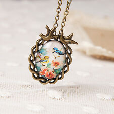 Oval Flower Bird Pendant Necklace Cute Glass Cabochon Statement NecklaceRWTY