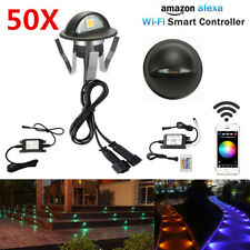 50Pcs Black Smart Wifi Half Moon 35mm RGB 12V LED Deck Stair Step Fence Lights