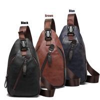 Men Leather Chest Pack Sling Bag Crossbody Messenger Bag Travel Satchel Backpack
