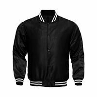 Letterman Baseball College Varsity Bomber Sports Wear Super Jacket Black Satin