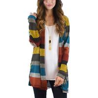 Women Striped Cardigan Long Sleeve Knitted Sweater Boho Jacket Outwear Fashion