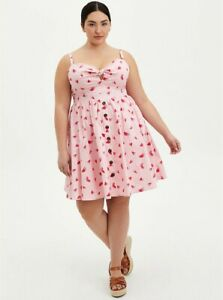 Torrid Pink Watermelon Print Tie Front Skater Rockabilly Pin Up Dress NWT New 0X