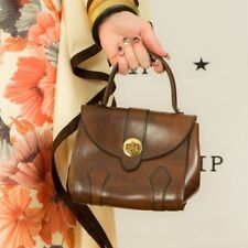 60s vintage brown faux leather gladstone bag by Lanca mod scooter brass lock