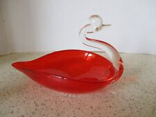 """VINTAGE, RED GLASS SWAN CANDY OR NUT DISH, 7 1/2"""" LONG X 5"""" WIDE X 5"""" TALL"""