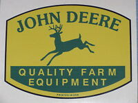 "JOHN DEERE LOGO 3.75"" QFE 1950's PRINTED IN USA DECAL STICKER 4 LEGGED TRACTOR"