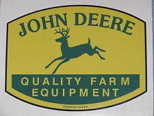 "JOHN DEERE LOGO 3.75"" QFE 1950's PRINTED IN USA DECAL STICKER 4 LEGGED TRACTOR"