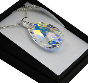 925 Sterling Silver Necklace Pear/Almond 16-38mm Crystals from Swarovski®
