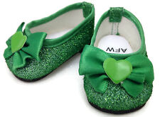 Green Glitter Dress Shoes made for 18 inch American Girl Doll Clothes