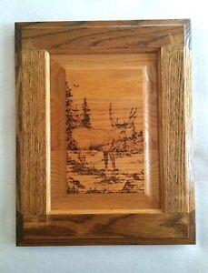 Vintage Buck Deer Scene Folk Art Wood Burn, Oak Wood Framed Pyrography Technique